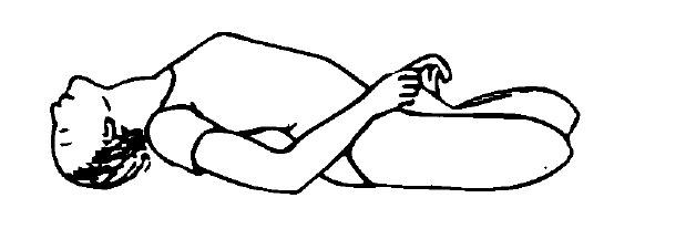 結跏趺坐で仰け反って背骨反らし